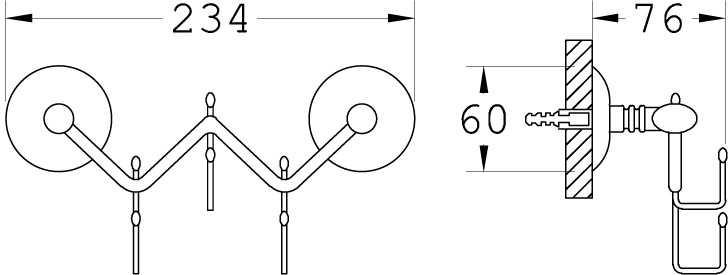 Üçlü Banyo Askısı Zigzag Kod: 3253